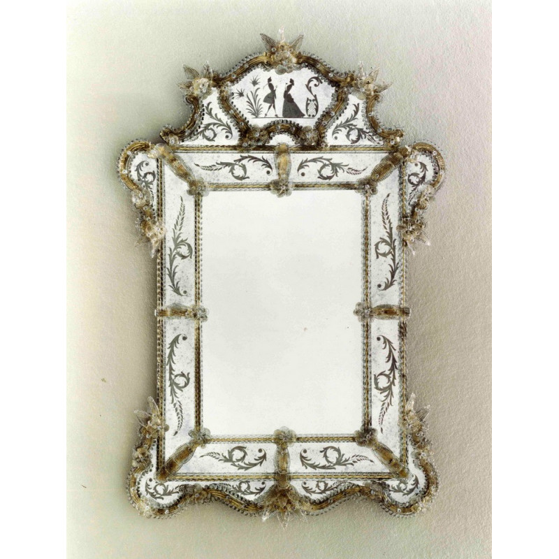 Beatrice miroir v nitien noir venetian mirrors for Miroir venitien murano