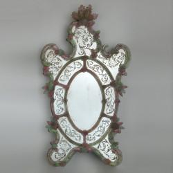 """""""Sebastian"""" miroir vénitien vert et rose"""
