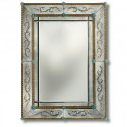 """Angelica"" miroir vénitien ambre et bleu"