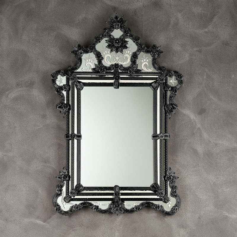 Zelinda miroir v nitien noir venetian mirrors for Miroir venitien