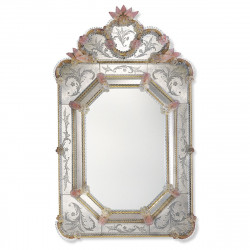 "Gold And Pink ""Dafne"" venetian mirror"