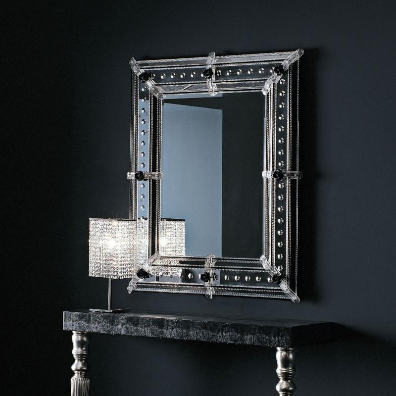 Vania miroir v nitien noir venetian mirrors for Miroir venitien rectangulaire