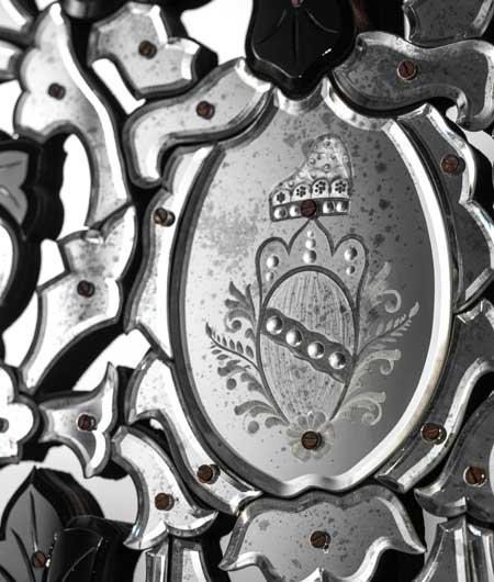 miroir vénitien avec détails transparents